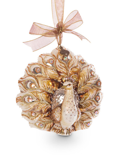 Jay Strongwater Fantail Peacock Glass Ornament Golden SDH2120-232