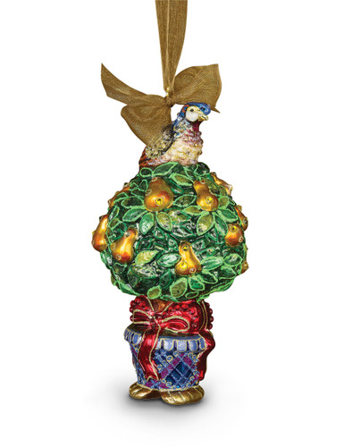 Jay Strongwater Partridge in a Pear Tree Glass Ornament Jewel SDH2220-250