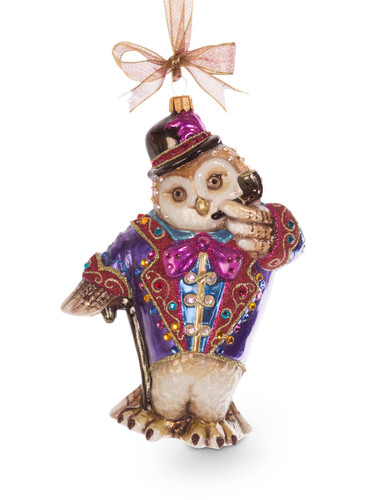 Jay Strongwater Jubilee Owl Glass Ornament Jewel SDH2226-250