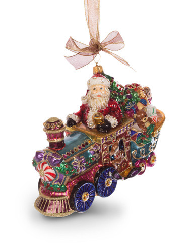 Jay Strongwater Santa on TrainGlass Ornament Jewel SDH2238-250