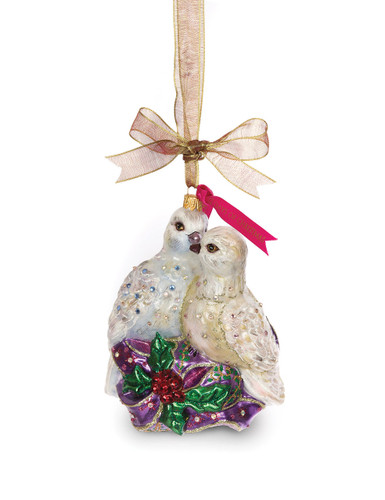 Jay Strongwater Two Turtle Doves Glass Ornament Jewel SDH2239-250