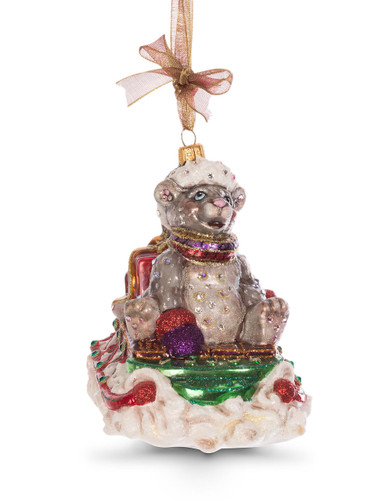 Jay Strongwater Mouse on Sled Glass Ornament Jewel SDH2246-250
