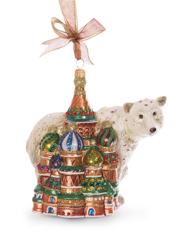 Jay Strongwater Palace and Polar Bear Glass Ornament Jewel SDH2248-250