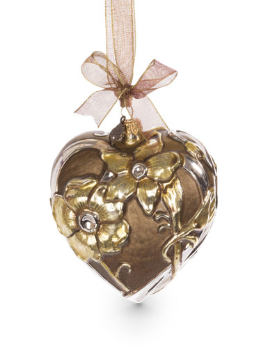 Jay Strongwater Gilded Heart Glass Ornament Gold SDH2265-292