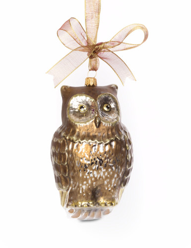 Jay Strongwater Gilded Owl Glass Ornament Gold SDH2268-292