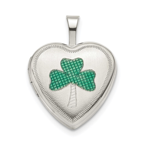 16Mm Green Enamel Clover Heart Locket Sterling Silver QLS800