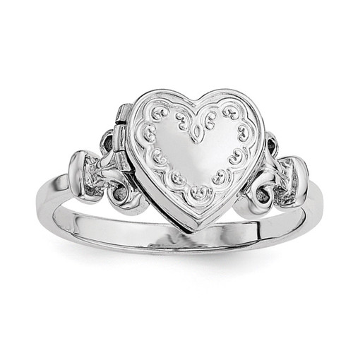 10Mm Locket Ring Sterling Silver Rhodium-plated QLS588R-6
