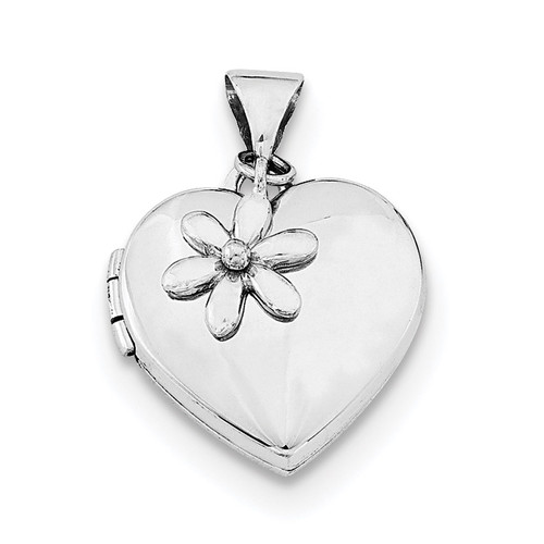 15Mm Heart with Flower Dangle Locket Sterling Silver Rhodium-plated QLS589