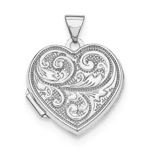18Mm Heart with Scrolls Locket Sterling Silver Rhodium-plated QLS597