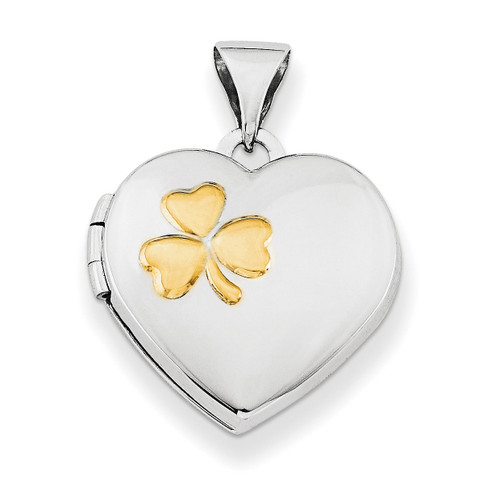15Mm Heart Locket with Gold-Plated Clover Sterling Silver Rhodium-plated QLS604