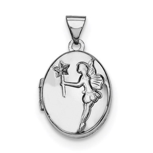 17Mm Oval Fairy Wishes Locket Sterling Silver Rhodium-plated QLS606