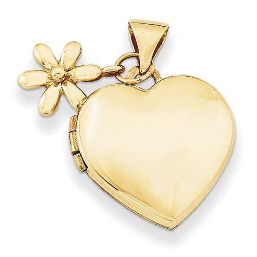 15Mm Heart with Flower Dangle Locket 14k Gold XL626
