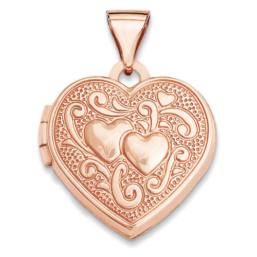 15Mm Heart Locket 14k Rose Gold XL659