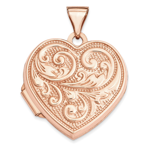 18Mm Scrolled Love You Always Heart Locket 14k Rose Gold XL664