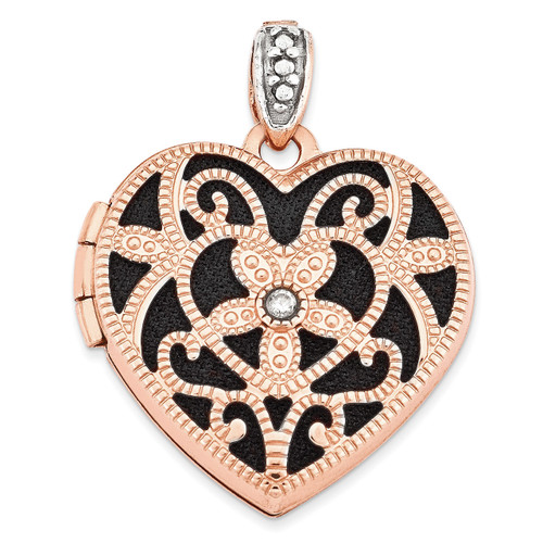 18Mm Vintage Heart with Diamond Blk Interior Locket 14k Rose Gold XL665