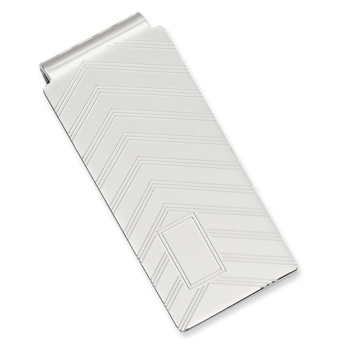 Angles Engravable Hinged Money Clip Rhodium-plated KW673