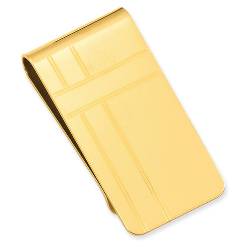 Crisss Cross Pattern Engravable Money Clip Gold-plated KW680