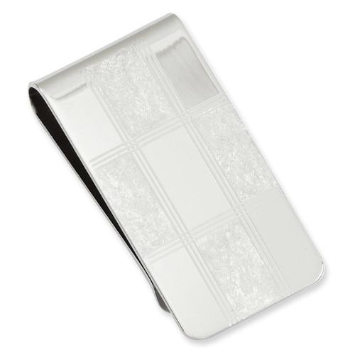 Four Square Engravable Money Clip Rhodium-plated KW685