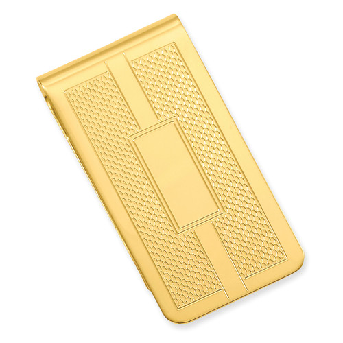 Honey Comb & Square Engravable Money Clip Gold-plated KW688