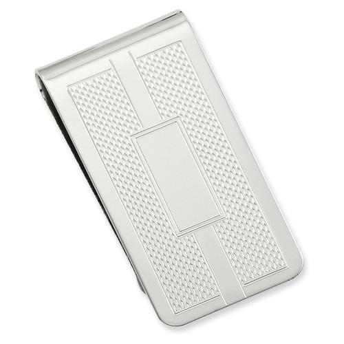 Honey Comb & Square Engravable Money Clip Rhodium-plated KW689