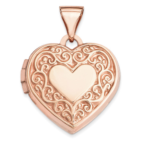 15Mm Scroll Heart Locket 14k Rose Gold XL657