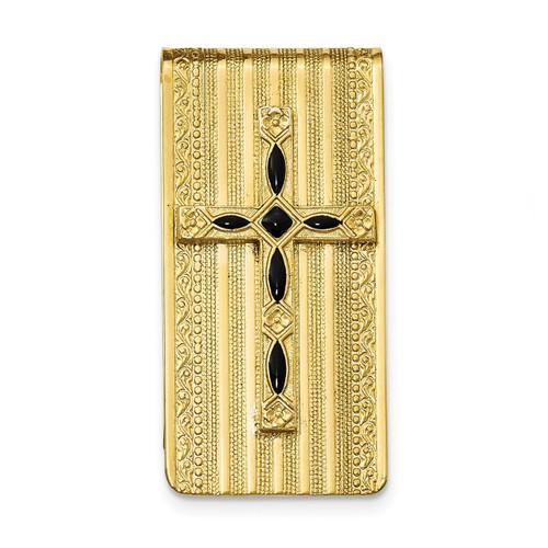 Black Enameled Cross Money Clip 14k Gold-plated RF560