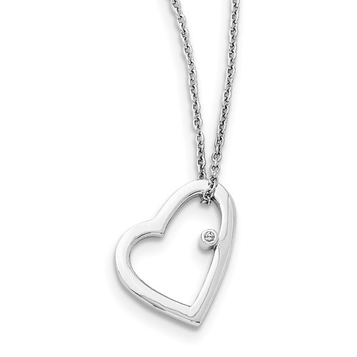 .01Ct Diamond Heart Necklace Sterling Silver QW154-18