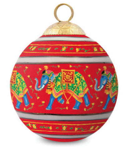 Halcyon Days Ceremonial Indian Elephant Red Bauble Ornament BCCIE06XBN