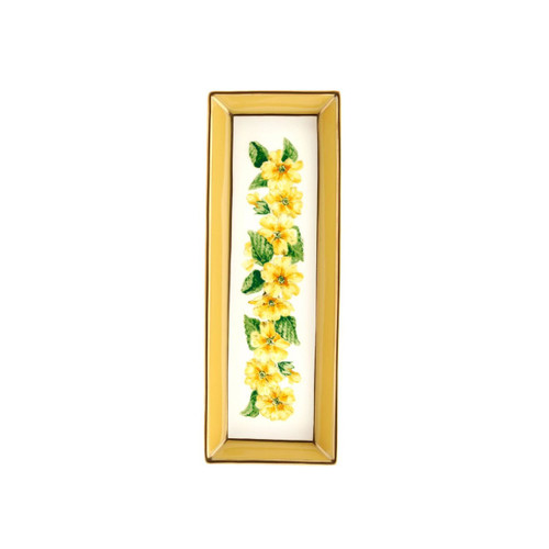 Halcyon Days Shell Garden Floral Primula Yellow Rectangular Tray BCCPR08RTG