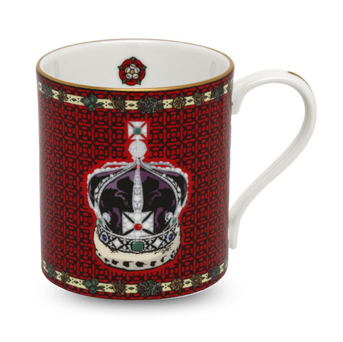 Halcyon Days The Imperial Crown of India Red Mug BCHIC06MGG