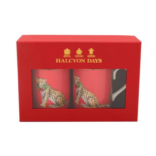 Halcyon Days Festive Leopards Mug Set of 2 BCMFL06MSG