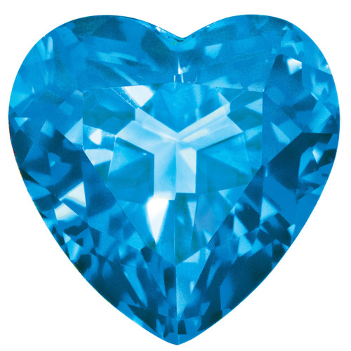 Blue Topaz 3mm Heart Faceted Gemstone BT-0300-HTF-AA