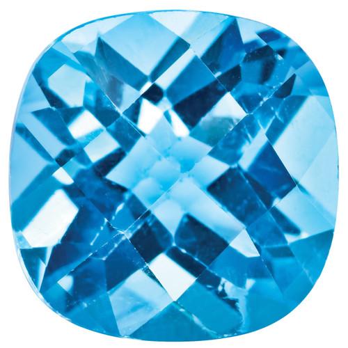 Blue Topaz 5mm Cushion Checkerboard Gemstone BT-0500-CUX-AA