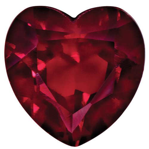 Created Ruby 4mm Heart Faceted Gemstone CR-0400-HTF