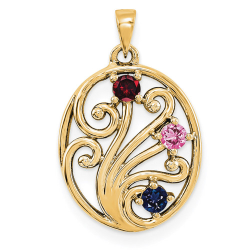 14K Yellow Gold Genuine  Family & Mother's Pendants YM1440-3GY