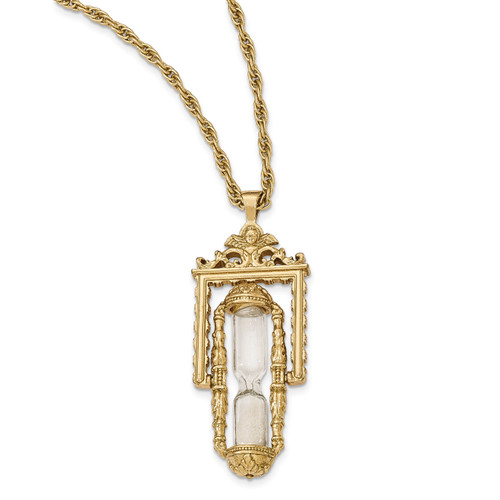 Glass & Sand Workable Hourglass Pendant Necklace Gold-tone BF2658