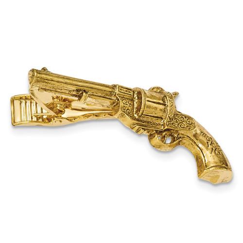 Gun Textured Tie Bar Gold-tone BF2720