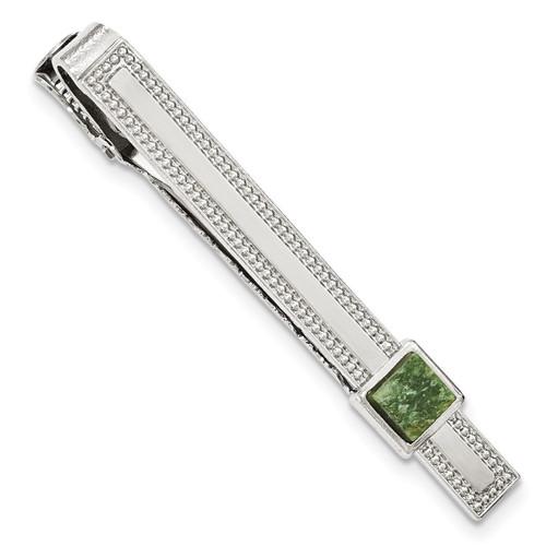 Green Jade Tie Bar Silver-tone BF2724