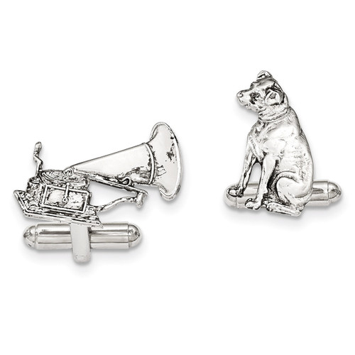 1 Dog 1 phonograph Cufflinks Silver-tone BF2737
