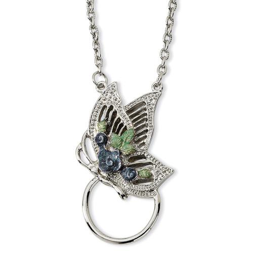 Butterfly Enameled Flower Eyeglass Holder 28 Necklace Silver-tone BF592