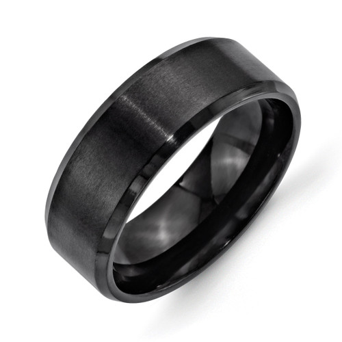 8mm Black IP-plated Brushed Polished Beveled Edge Band - Stainless Steel SR324