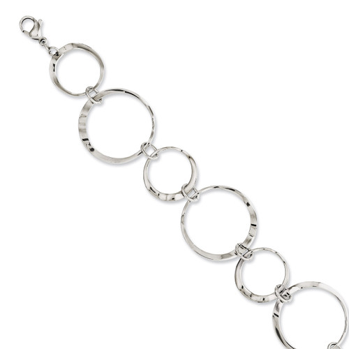 Polished Wavy Circles 8 Inch Bracelet - Stainless Steel SRB1077