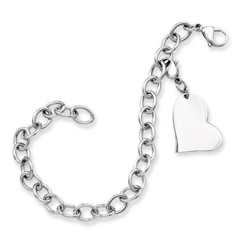 Heart Charm 8 Inch Bracelet - Stainless Steel SRB788