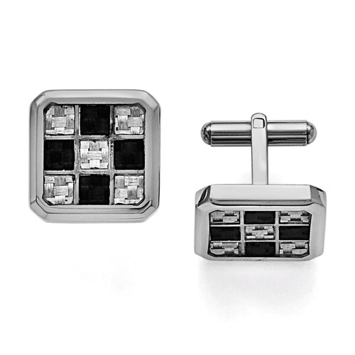 Black and Grey Carbon Fiber Cufflinks - Stainless Steel SRC176