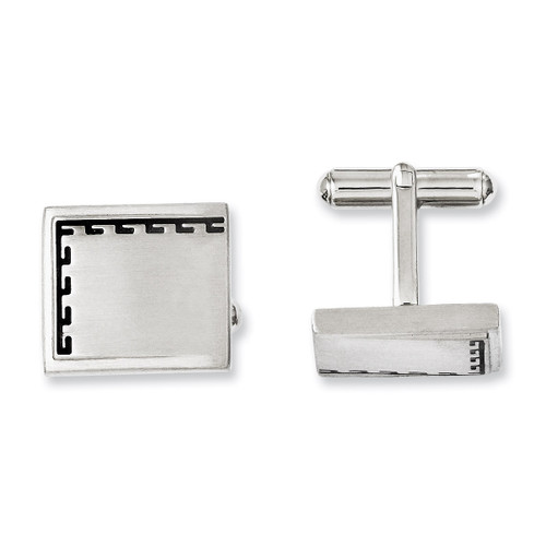 Antiqued Edge Brushed Cufflinks - Stainless Steel SRC222