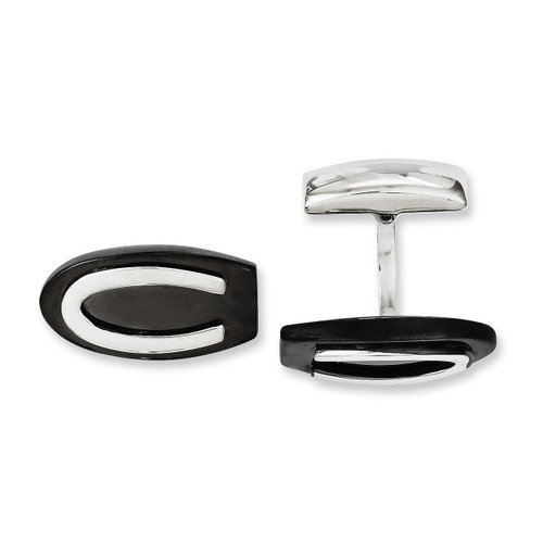 Black IP-plated Oval Cufflinks - Stainless Steel SRC223