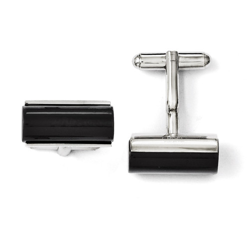 Black Agate Polished Cufflinks - Stainless Steel SRC226