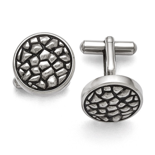 Antiqued and Textured Cufflinks - Stainless Steel SRC255