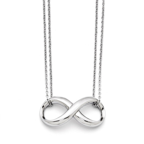 Polished Two Strand Infinity Symbol Necklace - Stainless Steel SRN1408