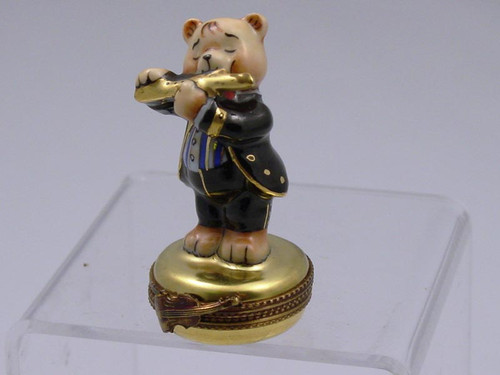 Chamart Bear Orchestra Flute Limoges Box 2000\082FL